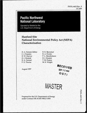 Primary view of object titled 'Hanford Site National Environmental Policy Act (NEPA) characterization. Revision 9'.