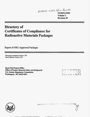 Primary view of object titled 'Directory of certificates of compliance for radioactive materials packages'.