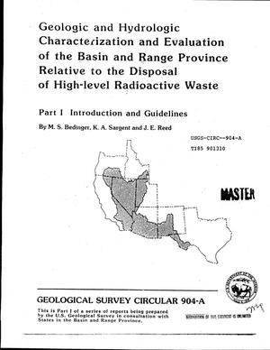 Primary view of object titled 'Geologic and hydrologic characterization and evaluation of the Basin and Range Province relative to the disposal of high-level radioactive waste. Part I. Introduction and guidelines'.