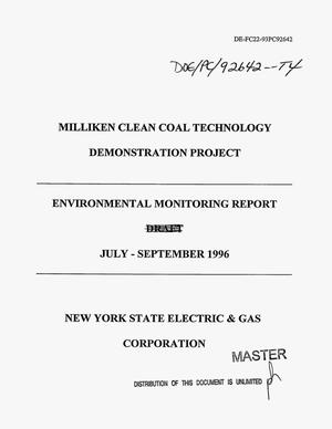 Primary view of object titled 'Milliken Clean Coal Technology Demonstration Project. Environmental monitoring report, July--September 1996'.