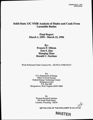 Primary view of object titled 'Solid state 13C NMR analysis of shales and coals from Laramide Basins. Final report, March 1, 1995--March 31, 1996'.