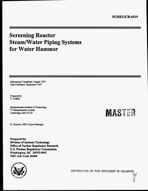 Primary view of object titled 'Screening reactor steam/water piping systems for water hammer'.