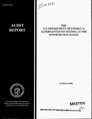 Primary view of object titled 'Office of Inspector General audit of alternatives to testing at the Tonopah Test Range'.