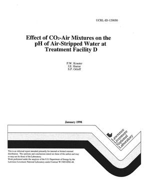Primary view of object titled 'Effect of CO{sub 2} air mixtures on the pH of air-stripped water at Treatment Facility D'.