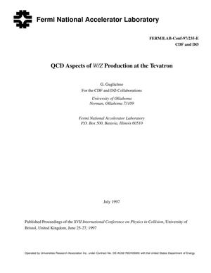 Primary view of object titled 'QCD aspects of W/Z production at the Tevatron'.