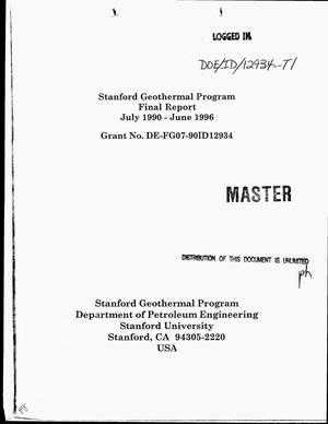 Primary view of object titled 'Stanford geothermal program. Final report, July 1990--June 1996'.