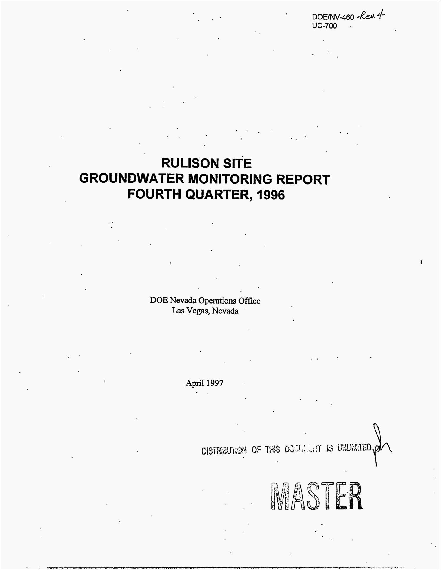 Rulison Site groundwater monitoring report fourth quarter, 1996. Revision 4                                                                                                      [Sequence #]: 1 of 42