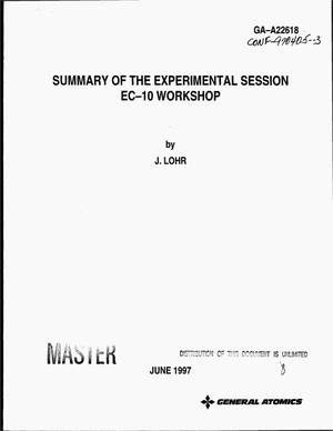Primary view of object titled 'Summary of the experimental session EC-10 workshop'.