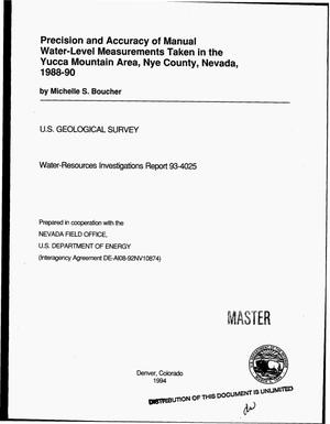 Primary view of object titled 'Precision and accuracy of manual water-level measurements taken in the Yucca Mountain Area, Nye County, Nevada, 1988--90'.