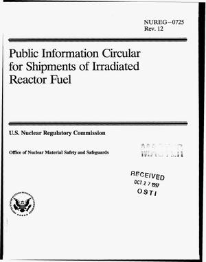 Primary view of object titled 'Public information circular for shipments of irradiated reactor fuel. Revision 12'.