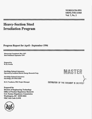 Primary view of object titled 'Heavy-section steel irradiation program. Progress report, April 1996--September 1996'.