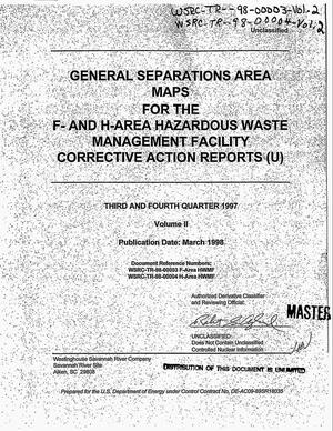 Primary view of object titled 'General separations area maps for the F- and H-area hazardous waste management facility corrective actions reports, third and fourth quarter 1997. Volume 2'.
