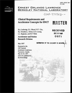 Primary view of object titled 'Clinical requirements and accelerator concepts for BNCT'.