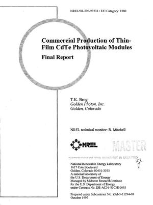Primary view of object titled 'Commercial production of thin-film CdTe photovoltaic modules. Final report'.