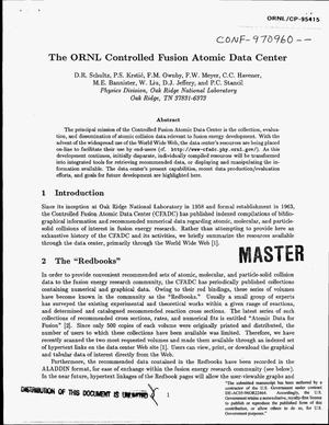 Primary view of object titled 'The ORNL Controlled Fusion Atomic Data Center'.
