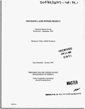 Primary view of object titled 'Minnesota Agri Power Project. Quarterly report, July 1, 1997--September 30, 1997'.
