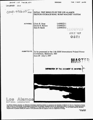 Primary view of object titled 'Initial test results of the Los Alamos proton-storage-ring bump-magnet system'.