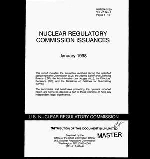 Primary view of object titled 'Nuclear Regulatory Commission issuances, Volume 47, No. 1'.