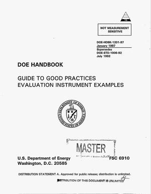 Primary view of object titled 'DOE Handbook: Guide to good practices evaluation instrument examples'.