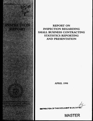 Primary view of object titled 'Report on inspection regarding small business contracting statistics reporting and presentation'.