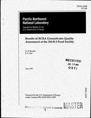 Primary view of object titled 'Results of RCRA groundwater quality assessment at the 216-B-3 Pond Facility'.