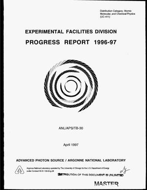 Primary view of object titled 'Experimental Facilities Division progress report 1996--97'.
