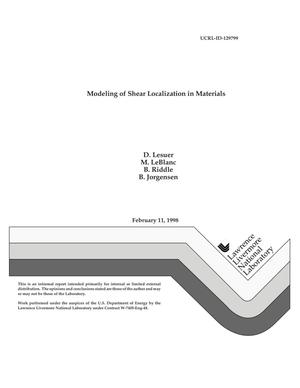 Primary view of object titled 'Modeling of shear localization in materials'.