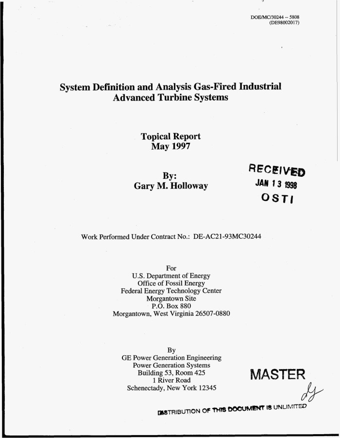 System definition and analysis gas-fired industrial advanced turbine