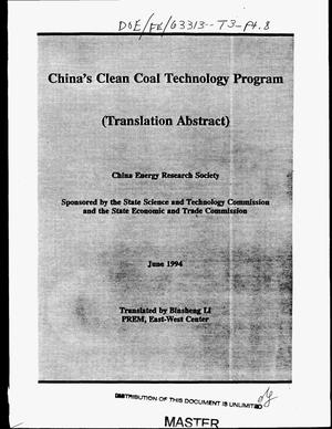Primary view of object titled 'China`s Clean Coal Technology Program (translation abstract)'.