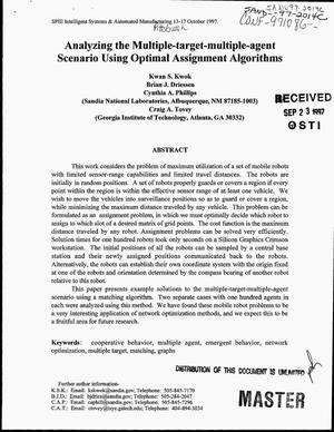 Primary view of object titled 'Analyzing the multiple-target-multiple-agent scenario using optimal assignment algorithms'.