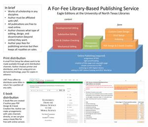 Primary view of object titled 'A For-Fee Library-Based Publishing Service: Eagle Editions at the University of North Texas Libraries [1]'.