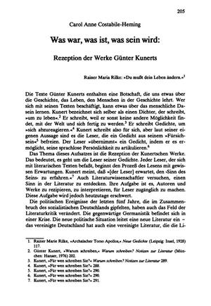 Was war, was ist, was sein wird: Rezeption der Werke Günter Kunerts