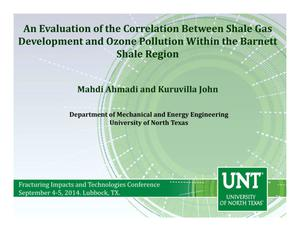 Primary view of object titled 'An Evaluation of the Correlation Between Shale Gas Development and Ozone Pollution within the Barnett Shale Region'.