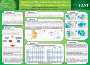 Primary view of object titled 'Evaluation of Three Major Emission Sources on DFW Ozone Level Using Photochemical Modeling'.