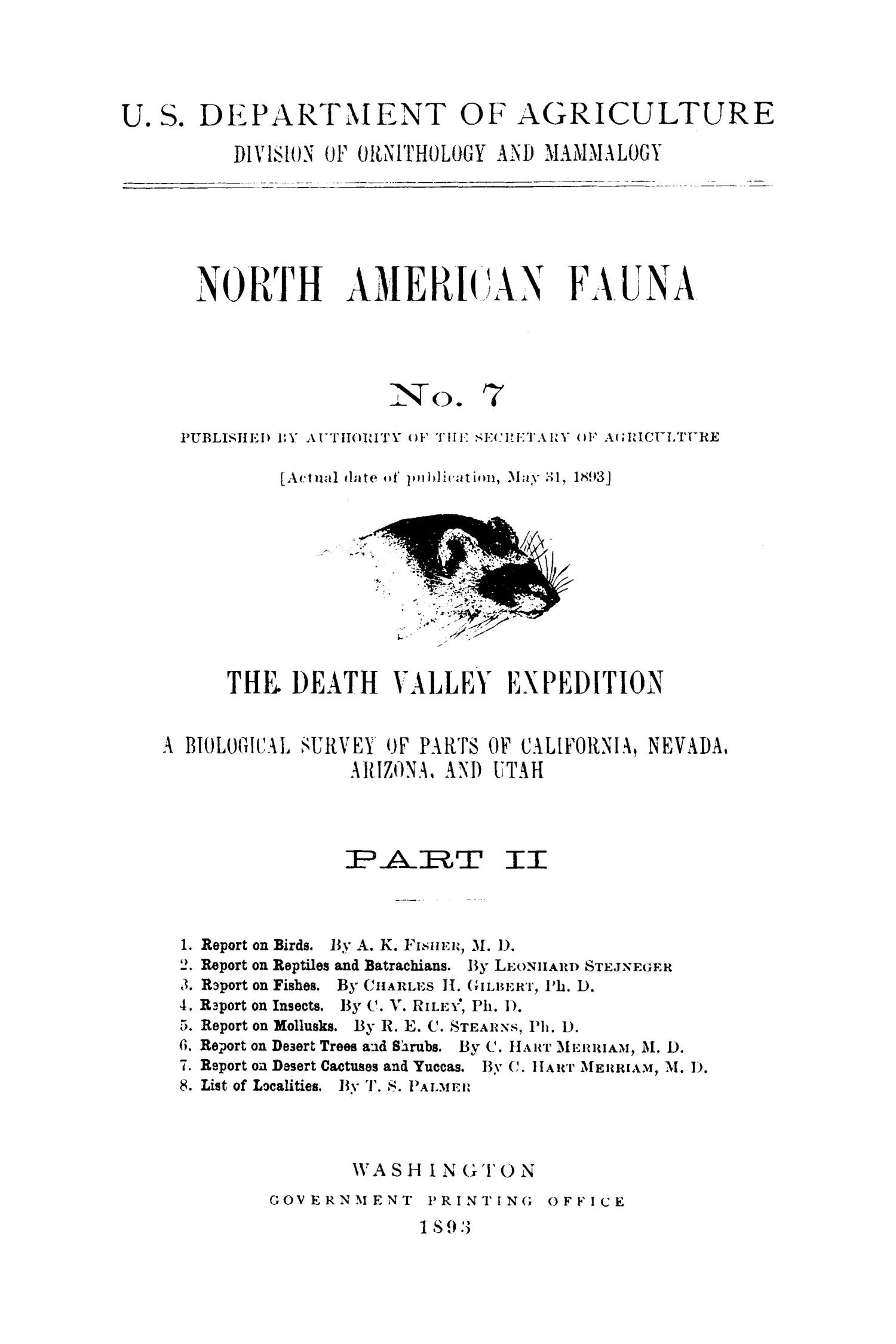 The Death Valley Expedition: A Biological Survey of Parts of California, Nevada, Arizona, and Utah, Part 2                                                                                                      Title Page