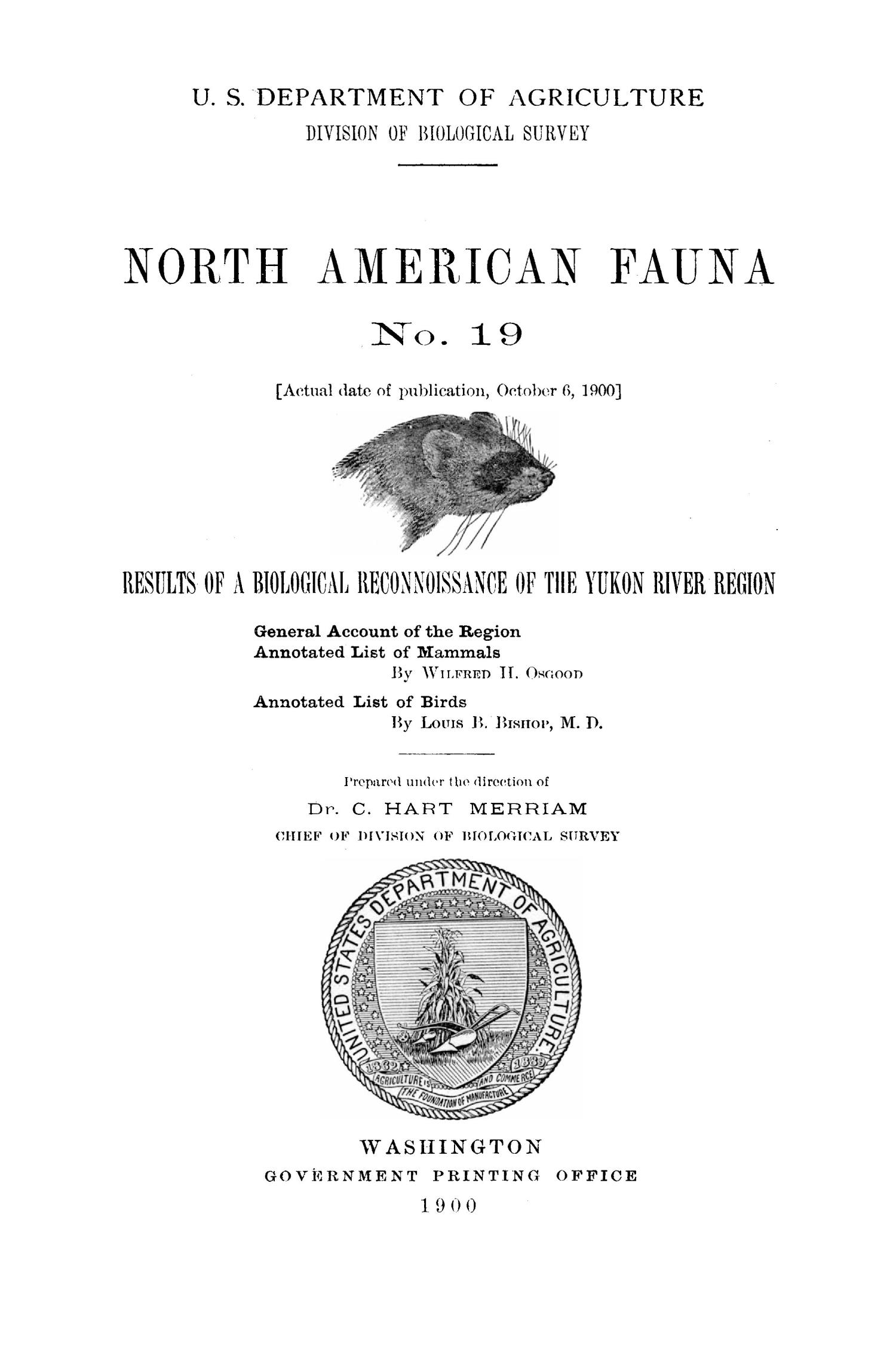 Results of a Biological Reconnaissance of the Yukon River Region                                                                                                      Title Page