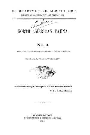Primary view of object titled 'Descriptions of Twenty-six New Species of North American Mammals'.