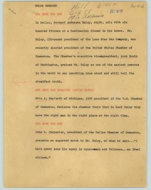 Primary view of object titled '[News Script: Hulcy honored]'.