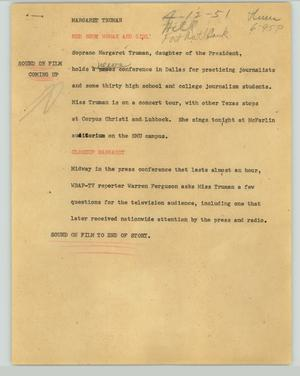 Primary view of object titled '[News Script: Margaret Truman]'.