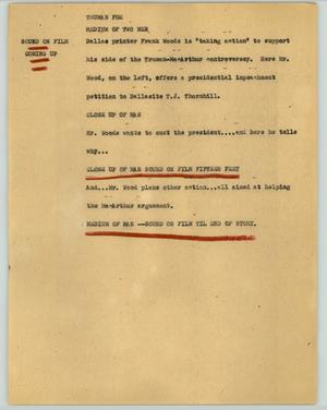Primary view of object titled '[News Script: Truman foe]'.