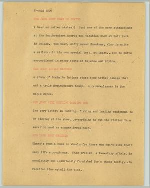 Primary view of object titled '[News Script: Sports Show]'.
