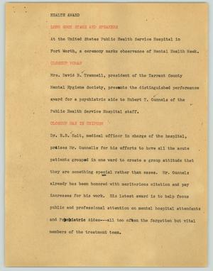 Primary view of object titled '[News Script: Health award]'.