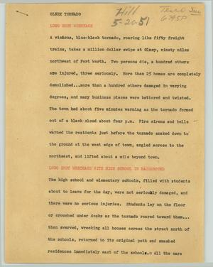 Primary view of object titled '[News Script: Olney tornado]'.