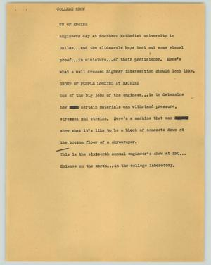Primary view of object titled '[News Script: College show]'.