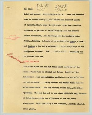 Primary view of object titled '[News Script: Dam blast]'.