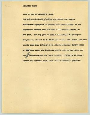 Primary view of object titled '[News Script: Athletic award]'.