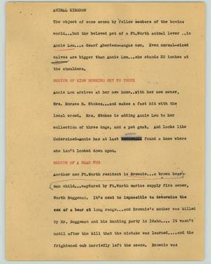 Primary view of object titled '[News Script: Animal kingdom]'.