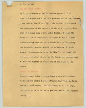 Primary view of object titled '[News Script: Mexican holiday]'.