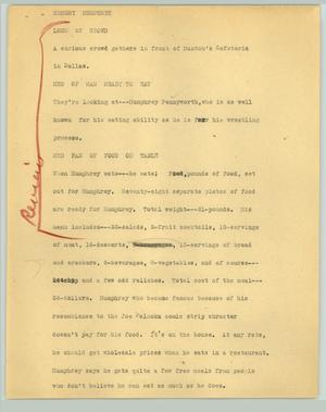 Primary view of object titled '[News Script: Hungry Humphrey]'.