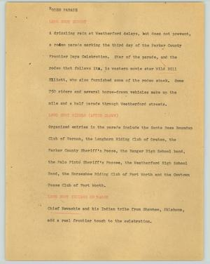 Primary view of object titled '[News Script: Rodeo parade]'.